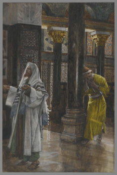 Reprodução do quadro The Pharisee and the Publican, illustration from 'The Life of Our Lord Jesus Christ', 1886-94