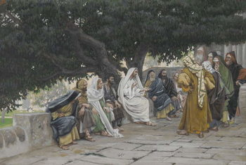 Reprodução do quadro The Pharisees and the Saduccees Come to Tempt Jesus, illustration from 'The Life of Our Lord Jesus Christ', 1886-94