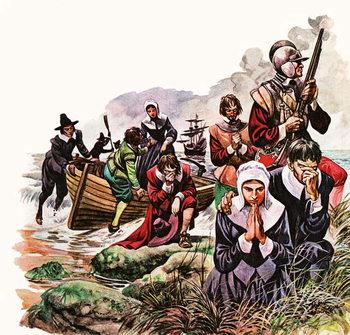 Reprodução do quadro The Pilgrim Fathers land in America