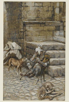 Reprodução do quadro The Poor Lazarus at the Rich Man's Door, illustration from 'The Life of Our Lord Jesus Christ'