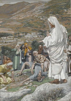 Reprodução do quadro The Possessed Boy at the Foot of Mount Tabor, illustration from 'The Life of Our Lord Jesus Christ', 1886-96