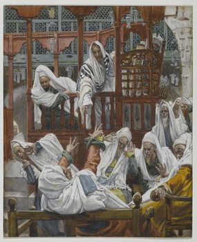 Reprodução do quadro The Possessed Man in the Synagogue, illustration from 'The Life of Our Lord Jesus Christ'