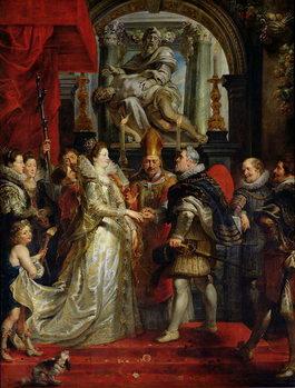 Reprodução do quadro The Proxy Marriage of Marie de Medici (1573-1642) and Henri IV (1573-1642) 5th October 1600, 1621-25
