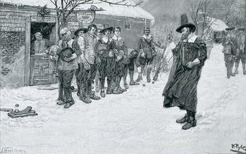 Reprodução do quadro The Puritan Governor Interrupting the Christmas Sports, engraved by J. Bernstrom, illustration from 'Christmas' by George William Curtis, pub. in Harper's Magazine, 1883