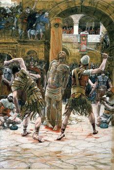 Reprodução do quadro The Scourging, illustration for 'The Life of Christ', c.1884-96