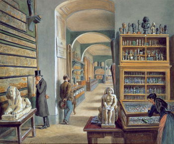 Reprodução do quadro The second room of Egyptian antiquities in the Ambraser Gallery of the Lower Belvedere, 1879
