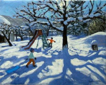 Reprodução do quadro The slide in winter, Bourg, St Moritz