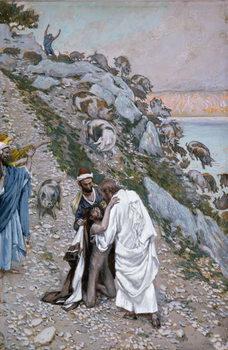 Reprodução do quadro The Swine Driven into the Sea, illustration for 'The Life of Christ', c.1886-94
