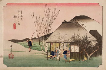 Reprodução do quadro The Teahouse at Mariko, from the series '53 Stations on the Eastern Coast Road', 1833