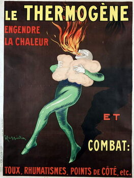 Reprodução do quadro The thermogen generates heat and fights cough, rheumatism, side points etc: poster by Leonetto Cappiello , 1926. A man warmed by the medicine spits out a flame. BN, Paris.