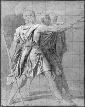 Reprodução do quadro The three Horatii brothers, study for 'The Oath of the Horatii', 1785