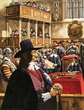 Reprodução do quadro The trial of King Charles the First in Westminster Hall