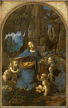 Reprodução do quadro The Virgin of the Rocks (with the Infant St. John adoring the Infant Christ accompanied by an Angel), c.1508