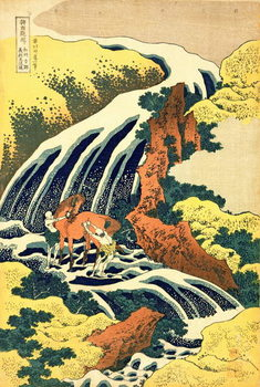 Reprodução do quadro The Waterfall where Yoshitsune washed his horse', no.4 in the series 'A Journey to the Waterfalls of all the Provinces', pub. by Nishimura Eijudo, c.1832,