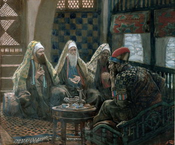 Reprodução do quadro The Wise Men and Herod, illustration for 'The Life of Christ', c.1886-94