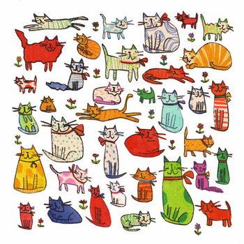 Reprodução do quadro Thirty eight cats, 2018,mono print, collage