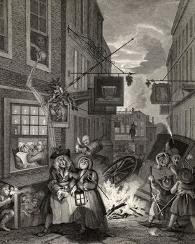Reprodução do quadro Times of the Day: Night, from 'The Works of William Hogarth', published 1833