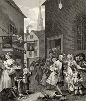 Reprodução do quadro Times of the Day: Noon, from 'The Works of William Hogarth', published 1833