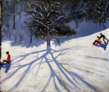 Reprodução do quadro Tree and two tobogganers