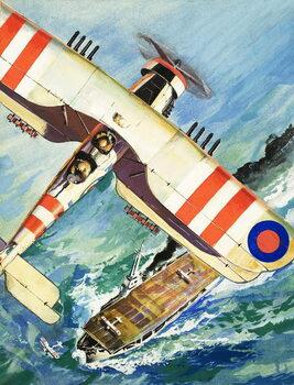 Reprodução do quadro Unidentified bi-plane flying over an aircraft carrier