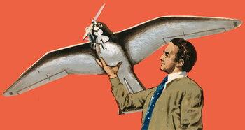 Reprodução do quadro Unidentified man with bird-shaped plane with propeller