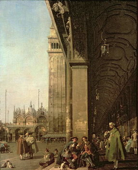 Reprodução do quadro Venice: Piazza di San Marco and the Colonnade of the Procuratie Nuove, c.1756