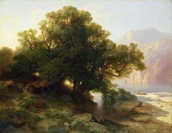 Reprodução do quadro View of Lake Thuner, 1854