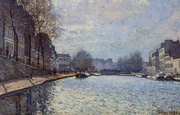 Reprodução do quadro View of the Canal Saint-Martin, Paris, 1870