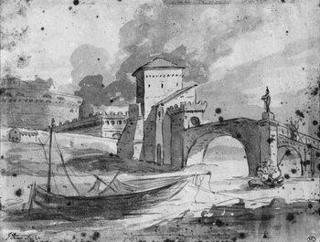 Reprodução do quadro View of the Tiber near the bridge and the castle Sant'Angelo in Rome, c.1775-80
