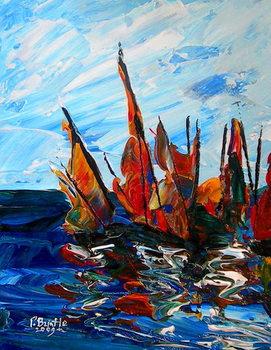 Reprodução do quadro Voiliers au port a bainet, 2009