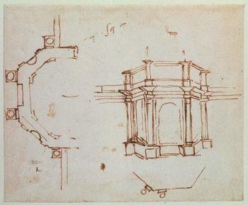 Reprodução do quadro W.24r Architectural sketch
