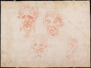 Reprodução do quadro W.33 Sketches of satyrs' faces