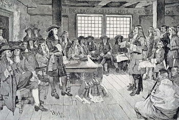 Reprodução do quadro William Penn in Conference with the Colonists, illustration from 'The First Visit of William Penn to America' pub. in Harper's Weekly, 1883