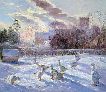 Reprodução do quadro Winter Geese in Church Meadow