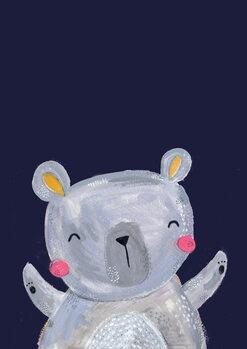Ilustração Woodland bear on navy