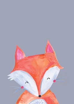 Ilustração Woodland fox on grey
