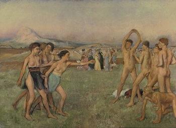 Reprodução do quadro Young Spartans Exercising, c.1860