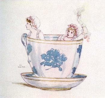 Reprodução do quadro 'A calm in a  tea-cup' by Kate Greenaway