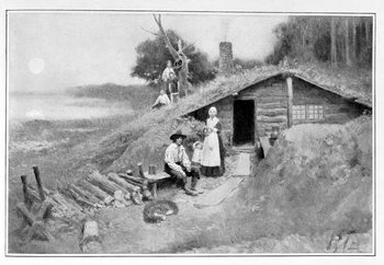 Reprodução do quadro  A Pennsylvania Cave-Dwelling, illustration from 'Colonies and Nation' by Woodrow Wilson, pub. in Harper's Magazine, 1901