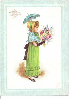 Reprodução do quadro A Victorian greeting card of children in fancy costume dancing, c.1880