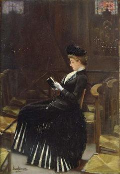 Reprodução do quadro  A Woman at Prayer, c.1889