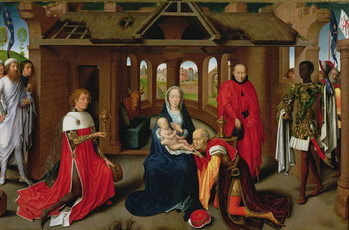 Reprodução do quadro  Adoration of the Magi, central panel of the Triptych of the Adoration of the Magi, c.1470-72