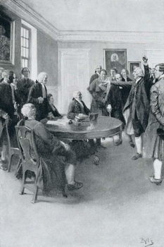 Reprodução do quadro  After the Massacre: Samuel Adams Demanding of Governor Hutchinson the Instant Withdrawal of British Troops, illustration from 'Colonies and Nation' by Woodrow Wilson, pub. in Harper's Magazine, 1901