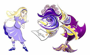 Reprodução do quadro Alice and the Fish Footman - illustration to  Lewis Carroll 's 'Alice's Adventures in Wonderland' , 2005
