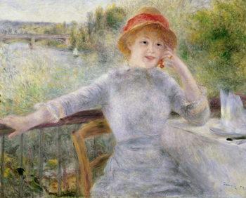Reprodução do quadro  Alphonsine Fournaise (1845-1937) at The Grenouillere, 1879