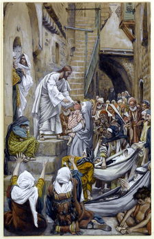 Reprodução do quadro  And All the City Was Gathered Together at the Door, illustration for 'The Life of Christ', c.1884-96