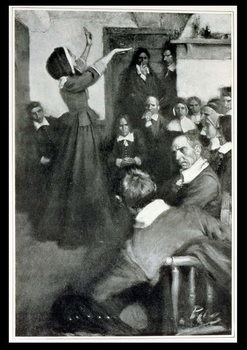 Reprodução do quadro  Anne Hutchinson Preaching in her House in Boston, 1637, illustration from 'Colonies and Nation' by Woodrow Wilson, pub. in Harper's Magazine, 1901
