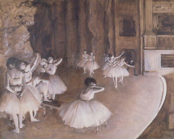 Reprodução do quadro  Ballet Rehearsal on the Stage, 1874