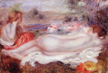 Reprodução do quadro  Bather reclining and a young girl doing her hair, 1896