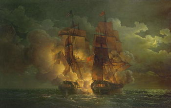 Reprodução do quadro Battle Between the French Frigate 'Arethuse' and the English Frigate 'Amelia' in View of the Islands of Loz, 7th February 1813